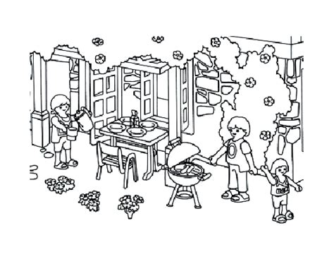 Playmobil Famille Jardin Coloriage Playmobil