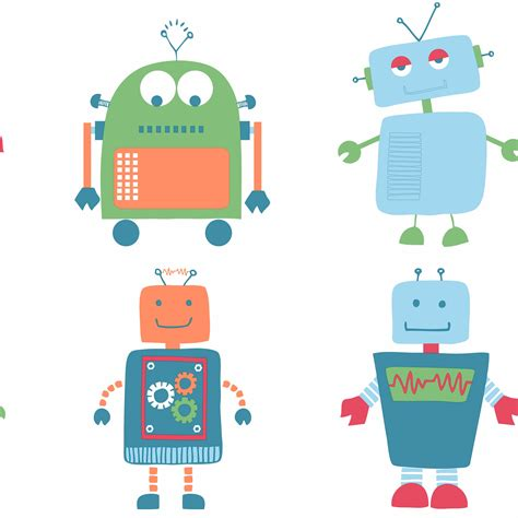 wallpaper robot cartoon robot blue children s wallpaper departments diy at b q