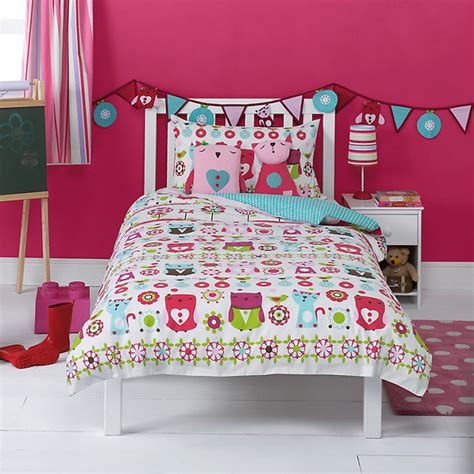 lewis childrens bed linen kaleidoscope owl single duvet cover and pillowcase