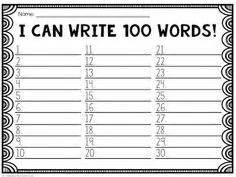 100th day of school challenge write 100 words freebie writing activity race to 100 a 100 days of school freebie bender bunch resources freebies