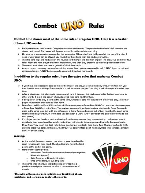 printable uno card game rules combat uno rules pdf pdf archive