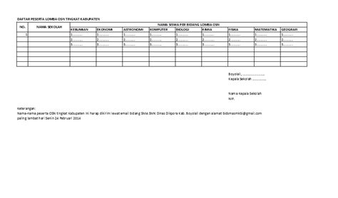 format daftar hadir peserta lomba info sma smk kabupaten boyolali daftar peserta lomba osn