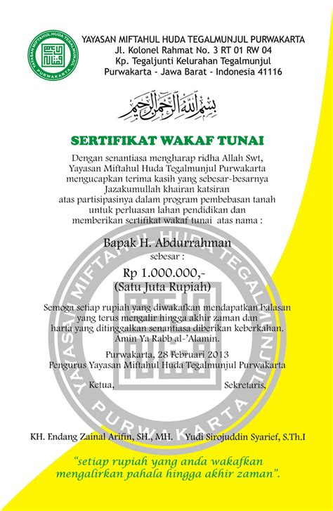 yayasan miftahul huda tegalmunjul purwakarta sertifikat