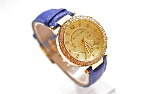 Mk Mic Hael Kors Chrono Detik Gold new michael kors gold glitz chrono navy blue