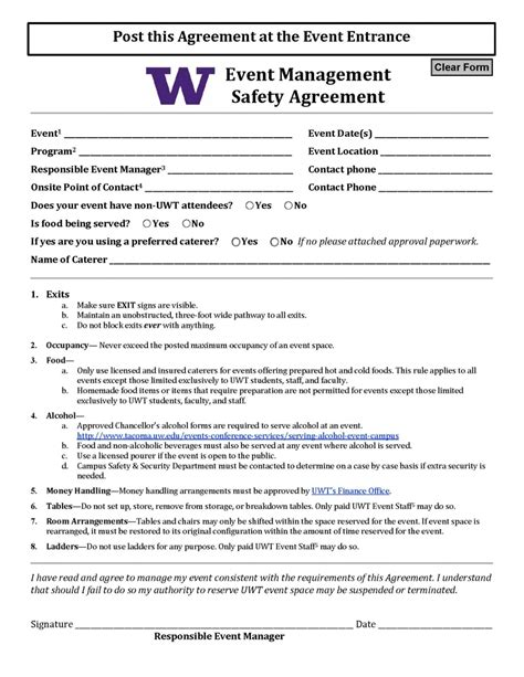 event management agreement template event management safety agreement uw tacoma