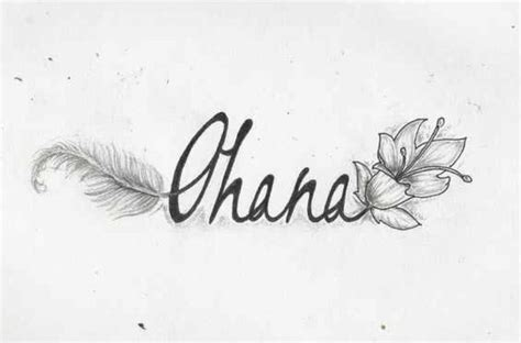 the word ohana with a flower and feather coming out of it
