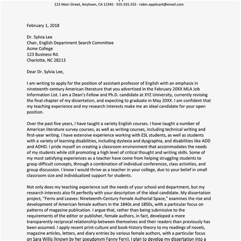 writing a cover letter for an academic position how to write an academic cover letter with exles