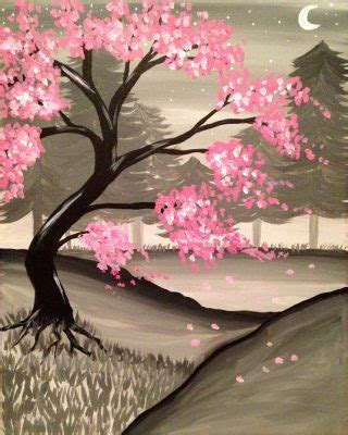 paint nite roseville winter cherry blossoms paint nite presented by paint nite