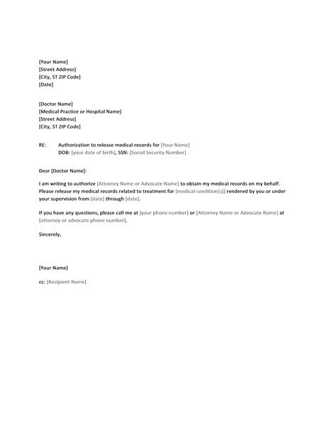 request letter to doctor letter to doctor authorizing release of records