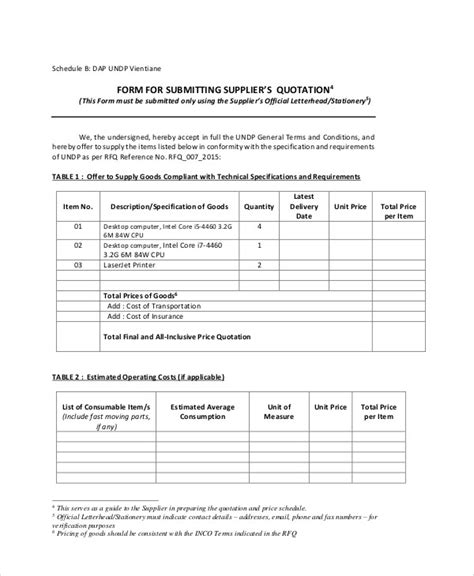 standard quote template sle standard quotation form 7 exles in word pdf