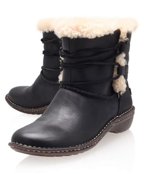 ugg boots for black ugg black rianne leather ankle boots in black lyst