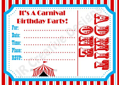 carnival themed invitations templates free carnival invite circus invite circus by jrcreativedesigns