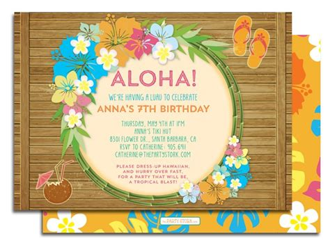 printable birthday invitations luau printable luau birthday party invitation