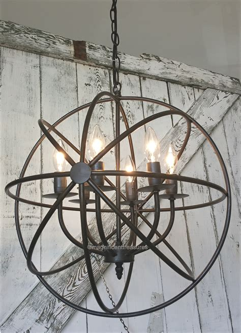 iron sphere light fixture industrial rustic metal armillary sphere chandelier