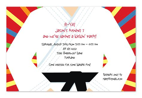 Karate Birthday Card Template by Karate Chop Birthday Invitations By Invitation
