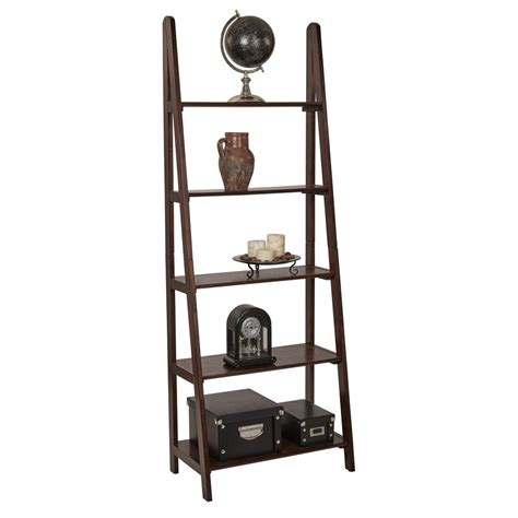 espresso ladder bookcase ospdesigns espresso ladder bookcase es21 the home depot