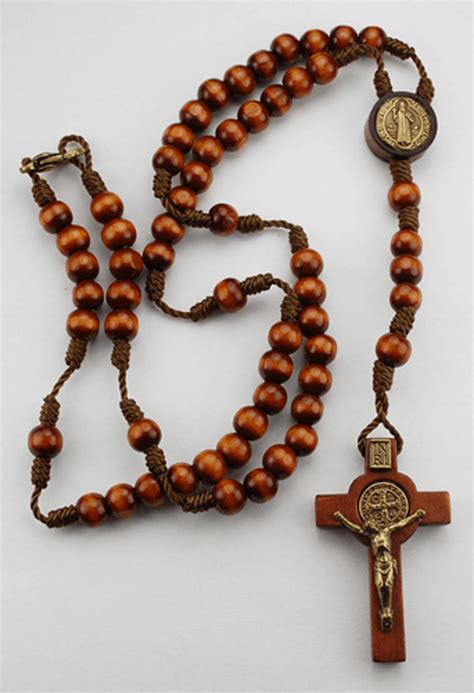 rosary pics small brown wood st benedict rosary