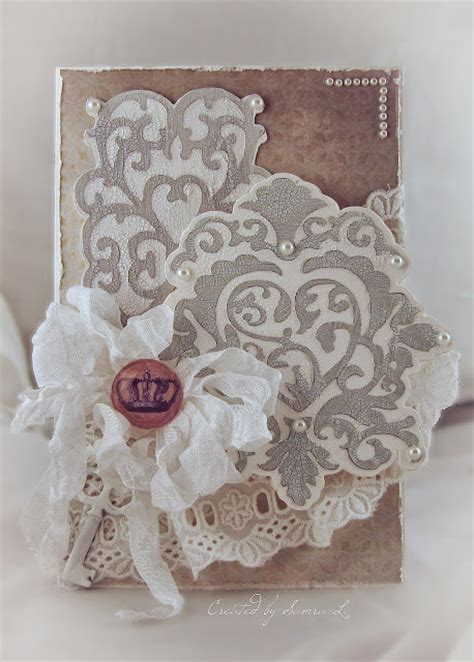 paper talk with samra shabby chic wedding hearts card