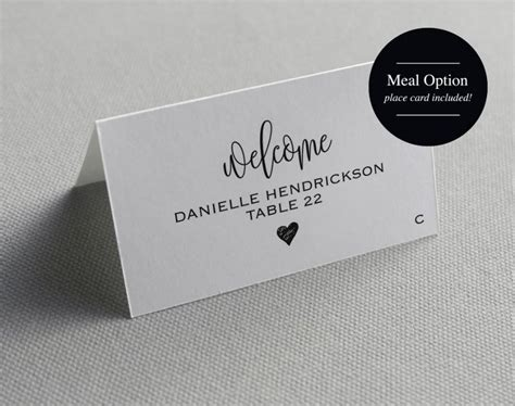 Place Card Label Template
