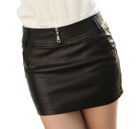 pu leather skirt boots mini skirt back zipper plus