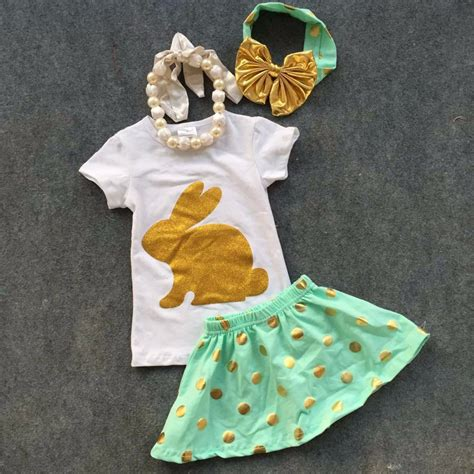 Set Gold Bunny Size 6 2016 new baby ester day bunny gold sequins sleeves easter dress set summer