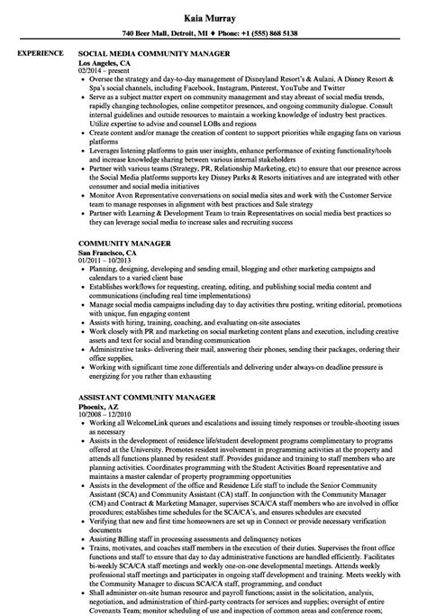 community manager resume sles velvet