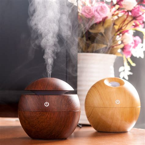 Aroma Therapy Air Humidifier Wood Flower mini 130ml usb mini wooden ultrasonic aromatherapy humidifier portable mist maker led light dc