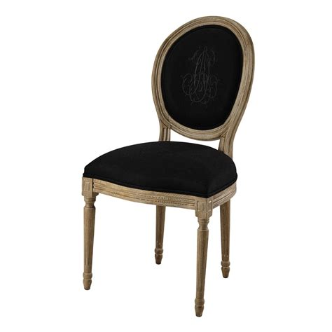 Linen Chairs by Medallion Chair In Black Linen And Greyed Oak Louis