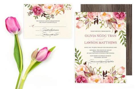 floral wedding invitation diy pink flowers and cactus floral wedding invitation set do it yourself printable
