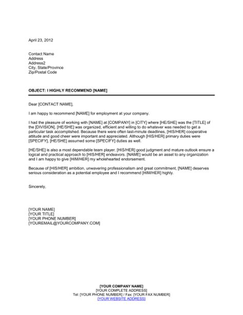 Reference Letter Highly Recommend I Highly Recommend Person Template Sle Form