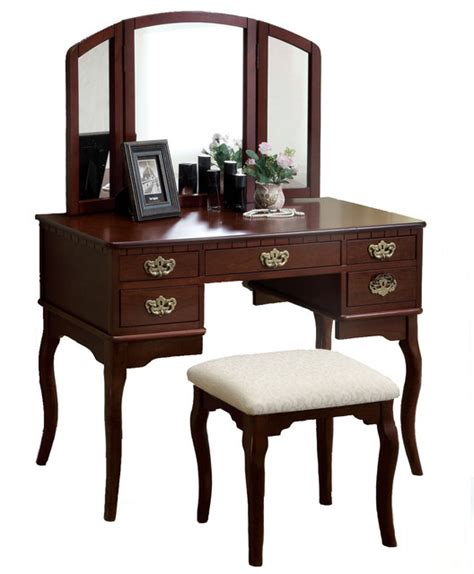 Cherry Makeup Vanity by Tri Folding Mirror Vanity Set 3 Pc Make Up Table Padded