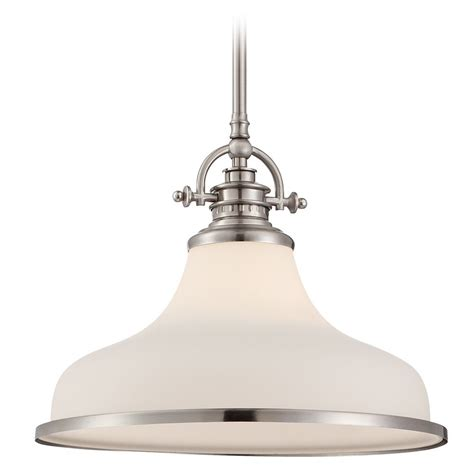 Brushed Nickel Pendant Light Quoizel Grant Brushed Nickel Pendant Light Grt2814bn Destination Lighting