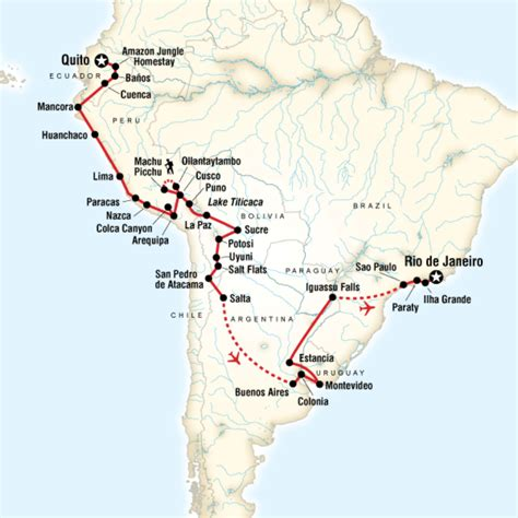 travel route map the great south american journey quito to adventure in
