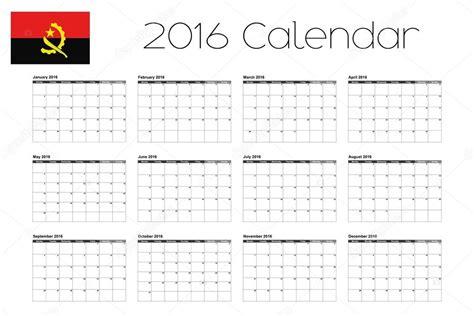 calendario com feriados 2016 angola calend 225 rio de 2016 com a bandeira de angola vetor de