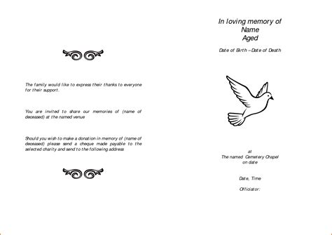printable funeral program templates 12 free printable funeral program template