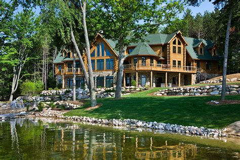 Michigan Cabin Builders by Michigan Log Home Lake Front Manteresting