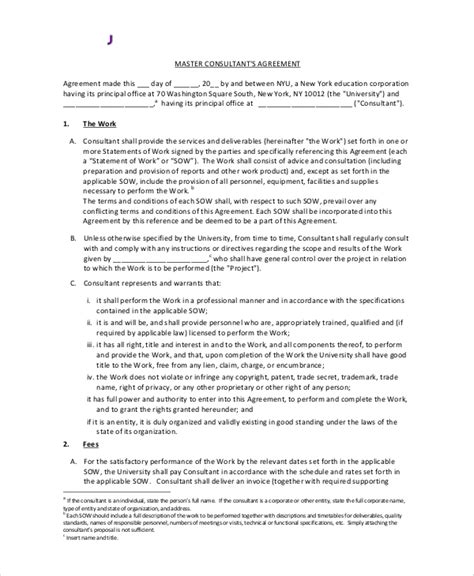 consultant contract template sle standard consulting agreement 7 documents in pdf