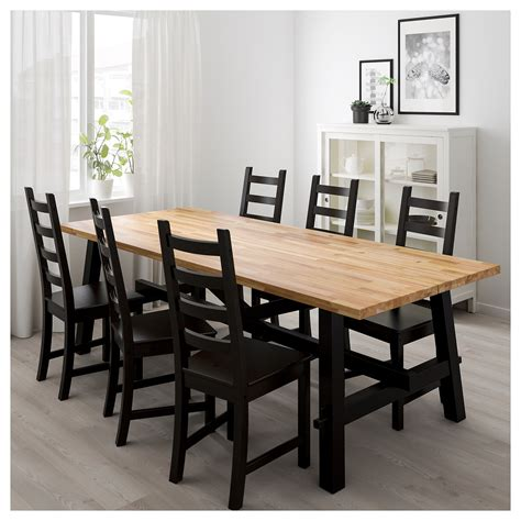 Ikea Dining Table And 6 Chairs Kaustby Skogsta Table And 6 Chairs Acacia Brown Black 235x100 Cm Ikea