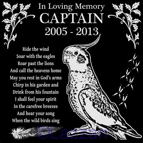 personalized cockatiel pet bird memorial 12x12 granite