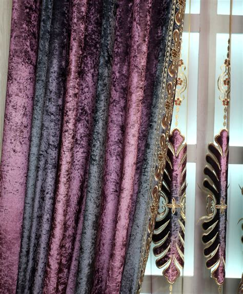 Ombre Window Curtains Ombre Purple Floral Embroidery Luxury Velvet Thermal Window Curtains