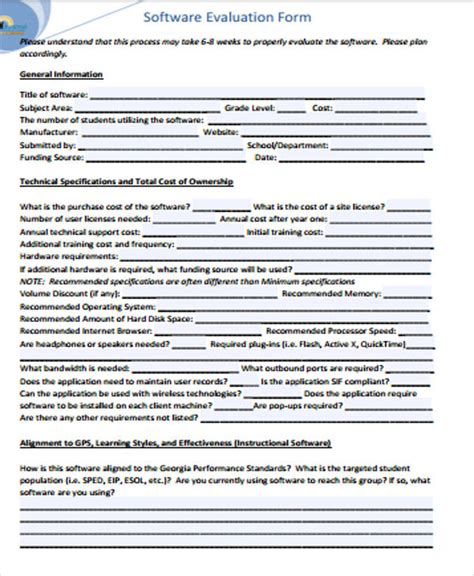 8 Sle Software Evaluation Forms Sle Templates Software Evaluation Template