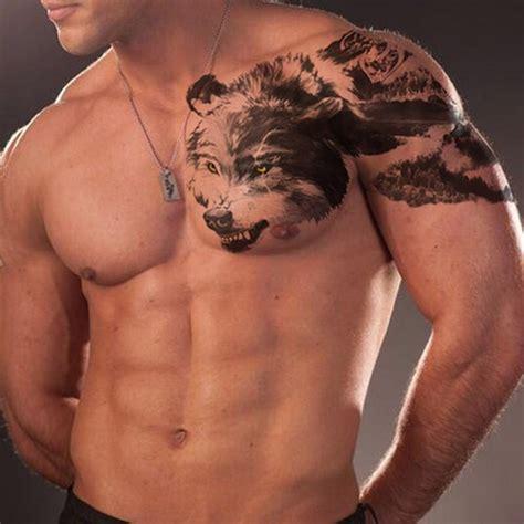 half chest tattoo unique half wolf half mountain chest concurso tatuaje