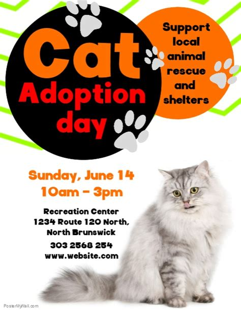 Cat Adoption Day Flyer Template Postermywall Adoption Flyer Template