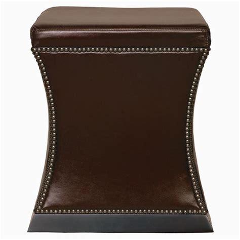 hollywood regency ottoman eliana hollywood regency antique nickel brown leather