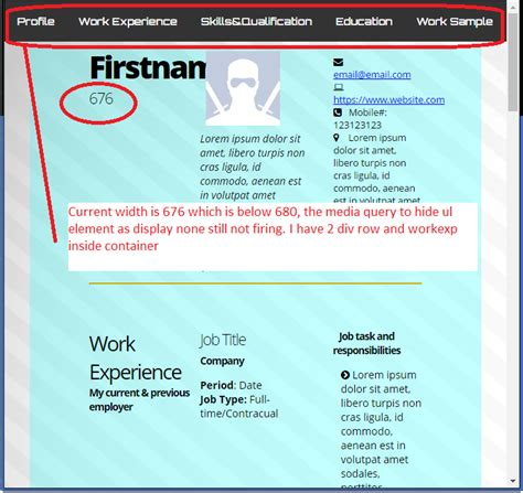 media query mobile html media query for mobile not firing at width 664 to