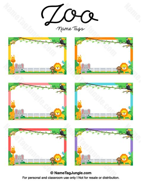 printable animal name plates free printable zoo name tags the template can also be