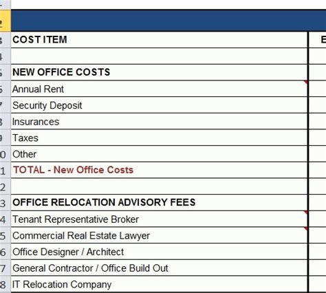 Office Relocation Budget Spreadsheet Template Relocation Template