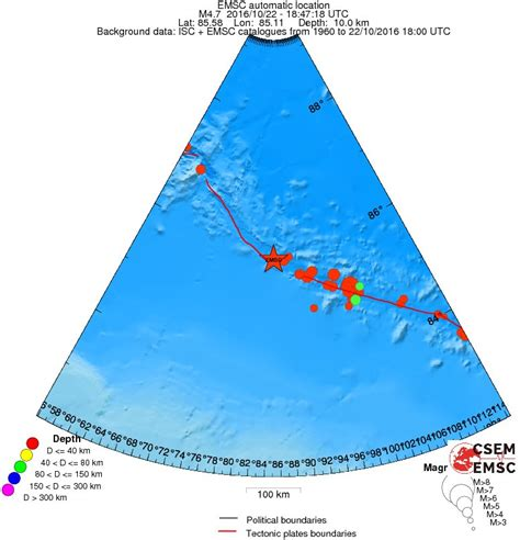 earthquake depth unusual m4 7 earthquake under east gakkel ridge undersea