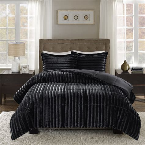 faux mink comforter set madison park duke faux fur comforter mini set ebay