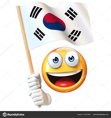 Kaos Kaki Korea Emoji 1 emoji holding south korean flag emoticon waving national flag south stock photo 169 koya979